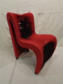 Mod  Italian side chair with woven strapping