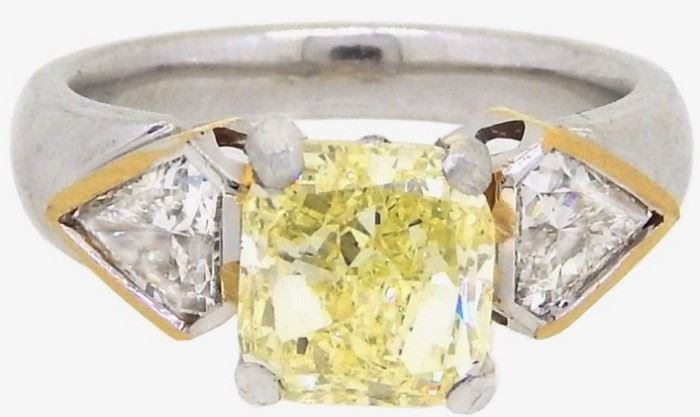 GIA 2.80CT Yellow Diamond Solitaire Ring