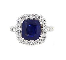 GIA 3.76 Unheated Platinum Sapphire Diamond Ring