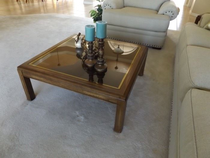 End tables have cane under glass