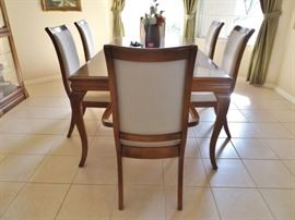 Dining room table with one leaf, 6 chairs - upholstery is off white