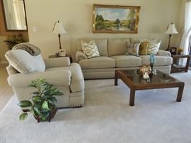 Living room sofa, chair, end tables, coffee table, painting