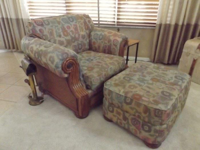 Upholstered chair & ottoman, Thomasville