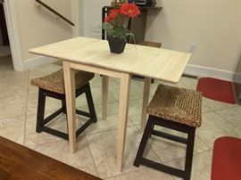 Cute little drop leaf table with wood benches