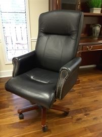 One of several leather executive desk chairs.