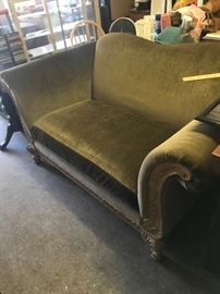 Oversized love seat -- green upholstery