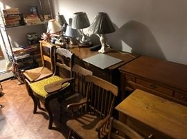 Antique chairs and cabinets