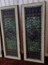 Antique Stain Glass Windows W/ Jewels