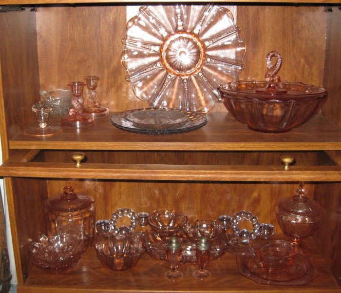 Lots of pink depression glass