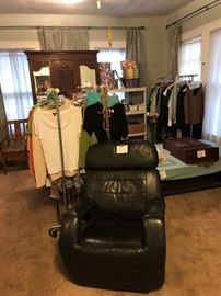 small sample of clothing, leather chair, folding bed, antique furniture