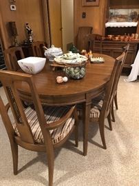mid century wood table w/ 2 leaves  buffet -wonderful condition