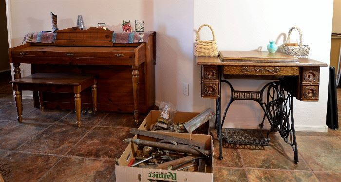 Piano for sale along with an antique sewing machine that you always wanted. Tools also for sale.