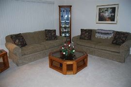 Sofas are sold - just Corner Curio Cabinet, Coffee and End Tables