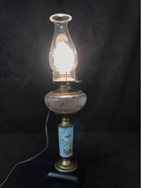 Converted Bird Motif Oil Lamp