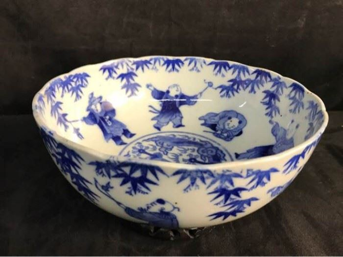 Antique Chinese Immortals Blue On White Bowl