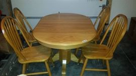 Light Oak Oval Table and 4 Windsor Chairs