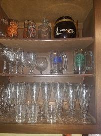 Variety art deco glasses and Bighamton Plumbers mugs