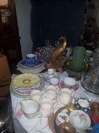 Plates, creamers, mugs