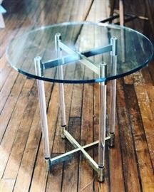 Lucite Table w Brass
