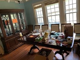 Dining room set with lots and lots of china! Make an offer!!!