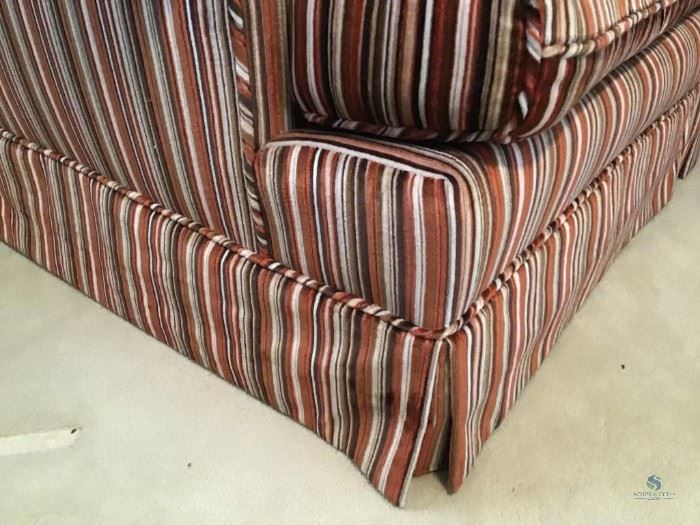 """Striped Couch / Item(s) Description 88""""wide, 37"""" deep, 30"""" tallHow Many in Lot 1Number of Photo 3Location Downstairs LR:"""