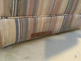 """Striped armchair / Item(s) Description 31""""x33""""x35""""How Many in Lot 1Wear/Tear Some tears by floorNumber of Photo 2Location Downstairs LR:"""
