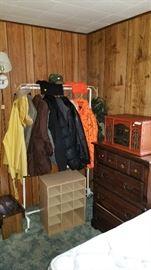 Leather jackets, hunting coats and rain coats/pants.