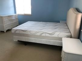 bedroom set including:  bedframe, mattress (queen), bedside drawers $800. Drawer opposite of bed $200