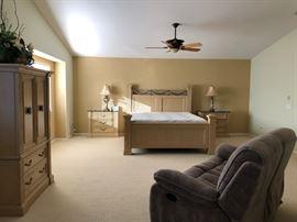 Bedroom Set including: frame, mattress (cal king), bedside drawers, and cabinet $950. Sofa for $150