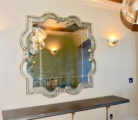 "Mirror w/Vintage-Looking Glass:  5'4""L x 5'4"" W."