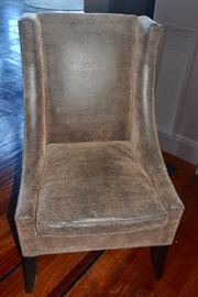 Parker Southern Armless End Chairs (2) w/Weathered-Like Brown Soft Leather.
