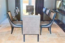 Dining Room Table:  Bronze Dual Tree Stump-Style Bases (2) w/Smoke-Colored Glass Top.