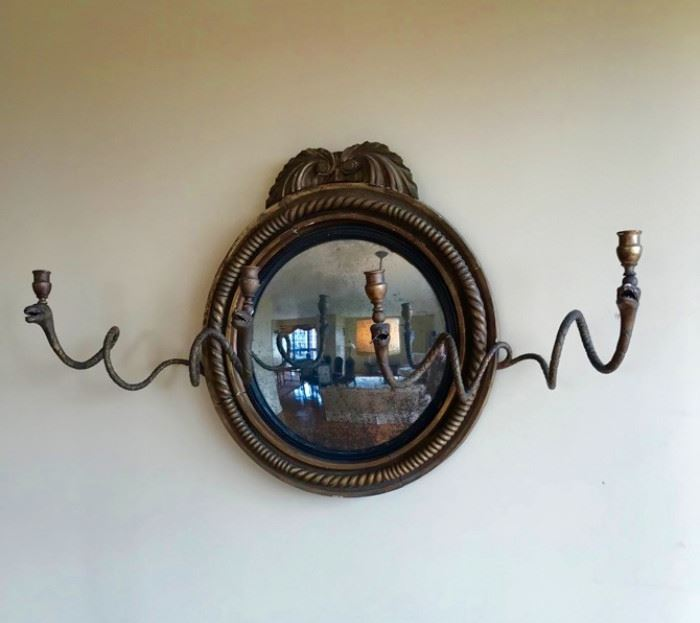 Convex Gilded early 19th C Snake Mirror