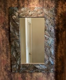 Silver and stone mirror