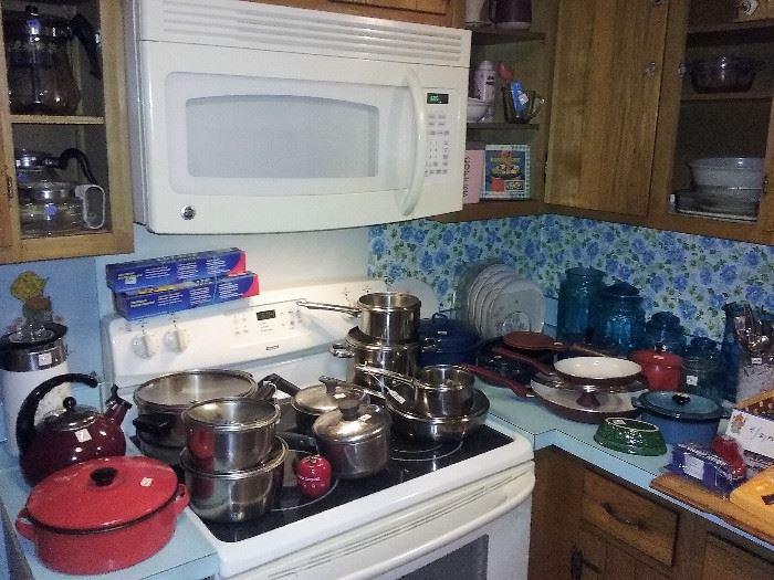 pots, pans, coffee makers