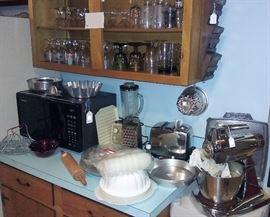 Sunbeam stand mixer, Tupperware, toaster, microwave