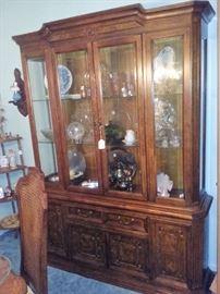 china cabinet, silver tea set