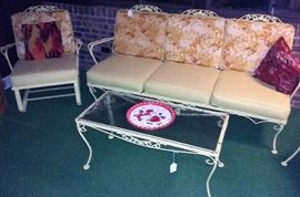 vintage Woodard patio couch, spring rocker, coffee table