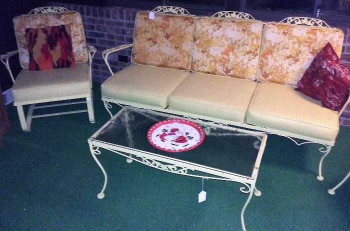 vintage Woodard patio couch, spring rocker, coffee table