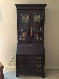 Beautiful solid wood secretary with leather writing surface