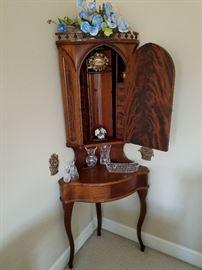 Mahogany corner desk / dental cabinet.