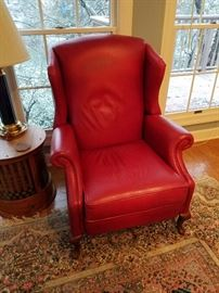 Red Leather Norwalk reclining chair.
