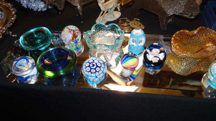 Paper Weights  & Murano Bowls