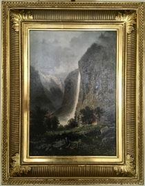 "Eugene Deshayes, 1828-1890, ""Staubach Falls"", oil on board, 11x16."