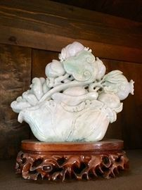 """Hand Carved ; 9 1/2"""" Lavender and Green Jade Peonies and Pomegranates"""