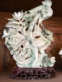 Hand Carved Jade Phoenix With Peonies