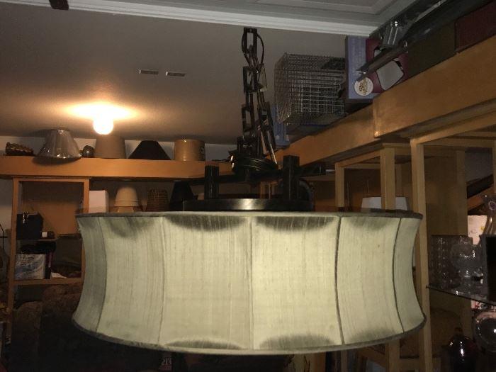 "Custom silk drum shade chandelier  36"" diameter x 18"" high"