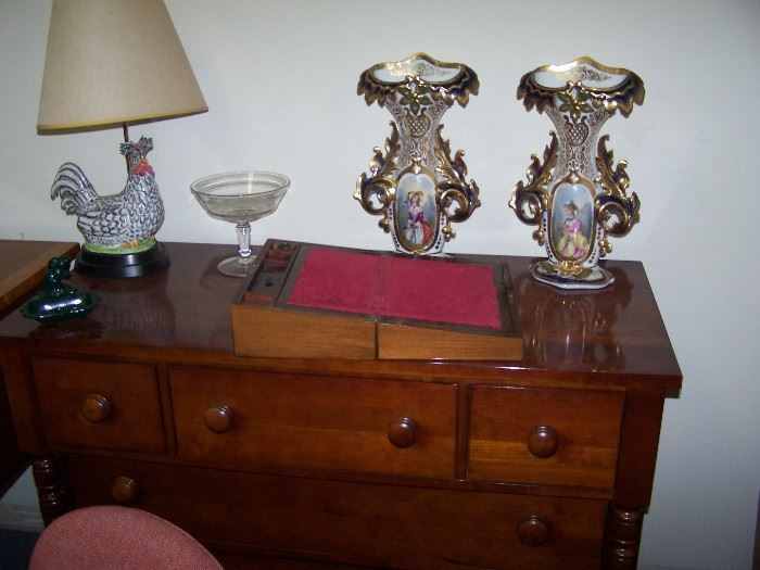 20TH C. CHERRY CHEST, ANTIQUE LAP DESK  & SMALLS