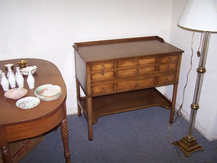 GLASS & BRASS FLOOR LAMP, HAMMARY CHEST--DRAWERS ARE LINED WITH PACIFIC CLOTH & TURNED LEG TABLE