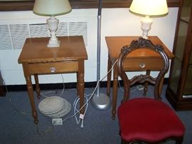 TWO WALNUT ONE-DRAWER STANDS, PAIR OF ALABASTER LAMPS & CARVED VICTORIAN SIDE CHAIR